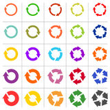 el pictograma de 25 flechas restaura el sistema de la muestra del lazo de la rotación de la recarga Imagenes de archivo