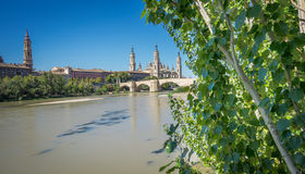 El Pilar basilica and the Ebro River Royalty Free Stock Image