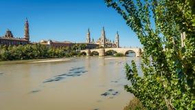 El Pilar basilica and the Ebro River, wide angle Stock Photos