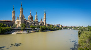 El Pilar basilica and the Ebro River, wide angle Royalty Free Stock Photography