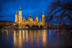 El Pilar Basilica and Ebro river (Zaragoza, Spain) Royalty Free Stock Images