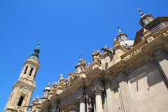 El Pilar Cathedral in Zaragoza city Spain outdoor Royalty Free Stock Image