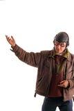 El piloto en uniforme viejo muestra arriba Fotografía de archivo