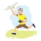 El piloto feliz de FPV está poniendo en marcha su avión Foto de archivo libre de regalías