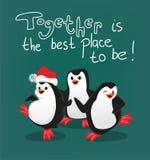 El pingüino con vector de la tarjeta de Navidad de los amigos, junto es el mejor lugar a ser stock de ilustración