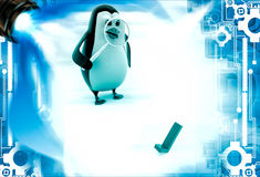 el pingüino 3d examina el ejemplo correcto verde del símbolo Imagen de archivo libre de regalías