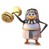 El pingüino egipcio fuerte Tutankhamun del faraón levanta algunos pesos pesados con su pequeña ala, ejemplo 3d libre illustration