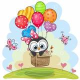 El pingüino lindo en la caja está volando en los globos ilustración del vector