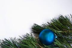 El pino ramifica los conos de la bola del fondo del Año Nuevo Foto de archivo
