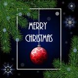 El pino realista del árbol de navidad ramifica, chuchería, marco y sn rojos ilustración del vector