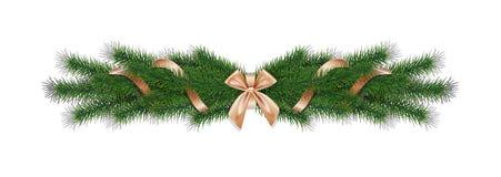 El pino realista del vector de la Navidad 3d ramifica con la cinta de oro Imagenes de archivo