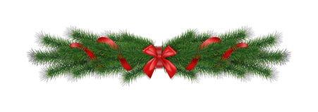 El pino realista del vector de la Navidad 3d ramifica con la cinta roja Imagen de archivo libre de regalías