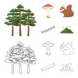 El pino, seta venenosa, árbol, ardilla, vio Iconos determinados de la colección del bosque en la historieta, acción del símbolo d Imagen de archivo