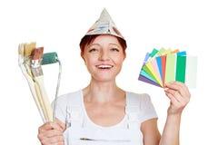 Pintor con las muestras del color Fotografía de archivo libre de regalías