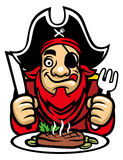 El pirata come el filete stock de ilustración