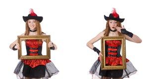 El pirata de la mujer con el marco aislado en blanco imágenes de archivo libres de regalías