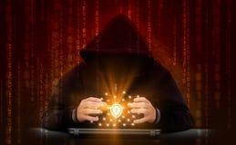 El pirata informático ataca la red segura Fotos de archivo libres de regalías