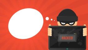 El pirata informático de la historieta está sosteniendo una tableta cortada en un fondo rojo Advertencia de la ventana del sistem Foto de archivo