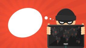 El pirata informático de la historieta está sosteniendo una tableta cortada en un fondo rojo Marcadores negros con las cerraduras Foto de archivo libre de regalías