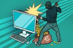 El pirata informático en línea roba el dinero euro del ordenador ilustración del vector