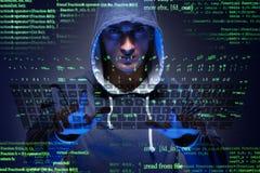 El pirata informático joven en concepto cibernético de la seguridad imagen de archivo