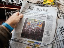 El Pis news reporting about the civil guard and protest referend Royalty Free Stock Image