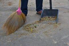 El piso concreto de limpieza con la hierba barre y ennegrece el recogedor de polvo plástico imágenes de archivo libres de regalías