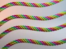 El plástico multicolor torcido telegrafía 3d Imágenes de archivo libres de regalías