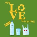 El plástico recicla el cartel Fotografía de archivo