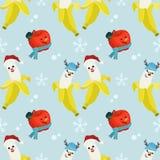 El plátano y la manzana lindos llevan el sombrero de la Navidad libre illustration