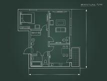 El plan arquitectónico un fondo oscuro Visión superior ilustración del vector