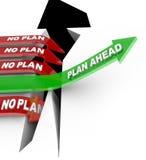 El plan a continuación no bate ninguna hoja de operación (planning) que supera problema Foto de archivo