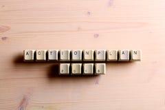 El plan de actuación 2018 en llaves de teclado de ordenador abotona en un b de madera Imagenes de archivo