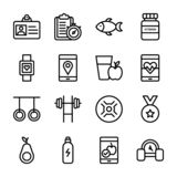 El plan de la dieta, deportes complementa, colecci?n de los iconos de la nutrici?n stock de ilustración