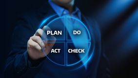 El plan de PDCA hace concepto del éxito de la meta de la estrategia de la acción de negocio del acto de control foto de archivo libre de regalías