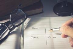 El plan humano de la escritura de la mano comprueba la acción Fotos de archivo libres de regalías