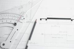 El planeamiento y el equipo del arquitecto Fotografía de archivo libre de regalías