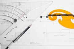 El planeamiento y el equipo del arquitecto Fotografía de archivo