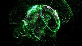 El planeta animado gira verde