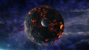 El planeta ardiente con un Sputnik en medio del universo hermoso libre illustration