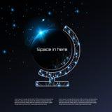 El planeta creativo del vector del concepto con las estrellas del efecto luminoso del resplandor estalla y chispea en fondo negro Foto de archivo libre de regalías