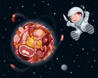 El planeta de la carne en espacio, astronauta hambriento vuela alrededor de ella con un cuchillo y una bifurcación ilustración del vector