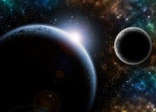 El planeta en espacio con la luz Foto de archivo