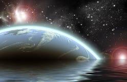 El planeta en spacePlanet en espacio reflejó en agua stock de ilustración