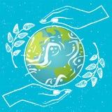 El planeta y las manos del globo del día de la protección de la tierra ramifican stock de ilustración