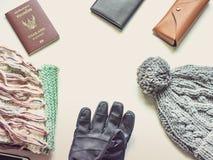 El plano del viaje de la estación del día de fiesta y del invierno pone concepto a partir del invierno c Fotos de archivo libres de regalías