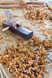 El plano para la artesanía en madera Foto de archivo