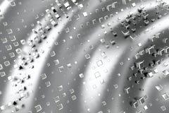 El platino del oro de plata o blanco bloquea los cubos sobre fondo de la onda Modelado del ejemplo 3d bitcoin rico de la explotac Libre Illustration