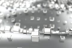 El platino del oro de plata o blanco bloquea los cubos sobre fondo de la onda Modelado del ejemplo 3d bitcoin rico de la explotac ilustración del vector
