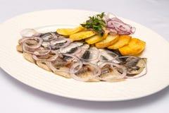 El plato con las patatas y los pescados salados Imagen de archivo libre de regalías
